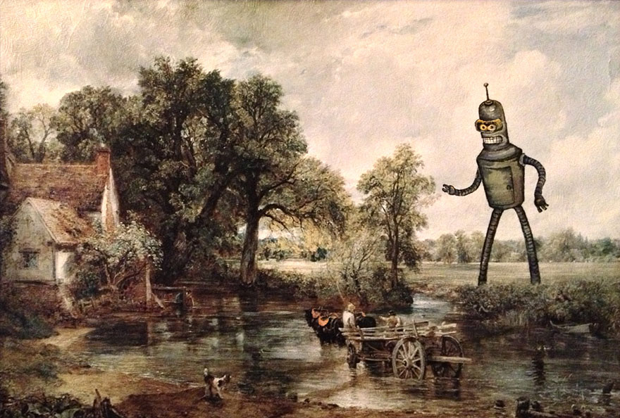 Guy Inserts Pop Culture Characters Into Old Thrift Store Paintings Bored