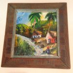 Haitian Oil Canvas Painting Village Island Scene Ethnic Signed Unknown Artist