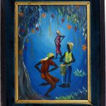 Haitian School Oil Painting Board Voodoo