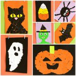 Halloween Torn Paper Art Ideas Mosaic Collage Easy Peasy