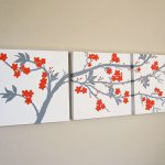 Hand Crafted Orange Grey Cherry Blossom Triptych Painting Canvas Sarah Schmid
