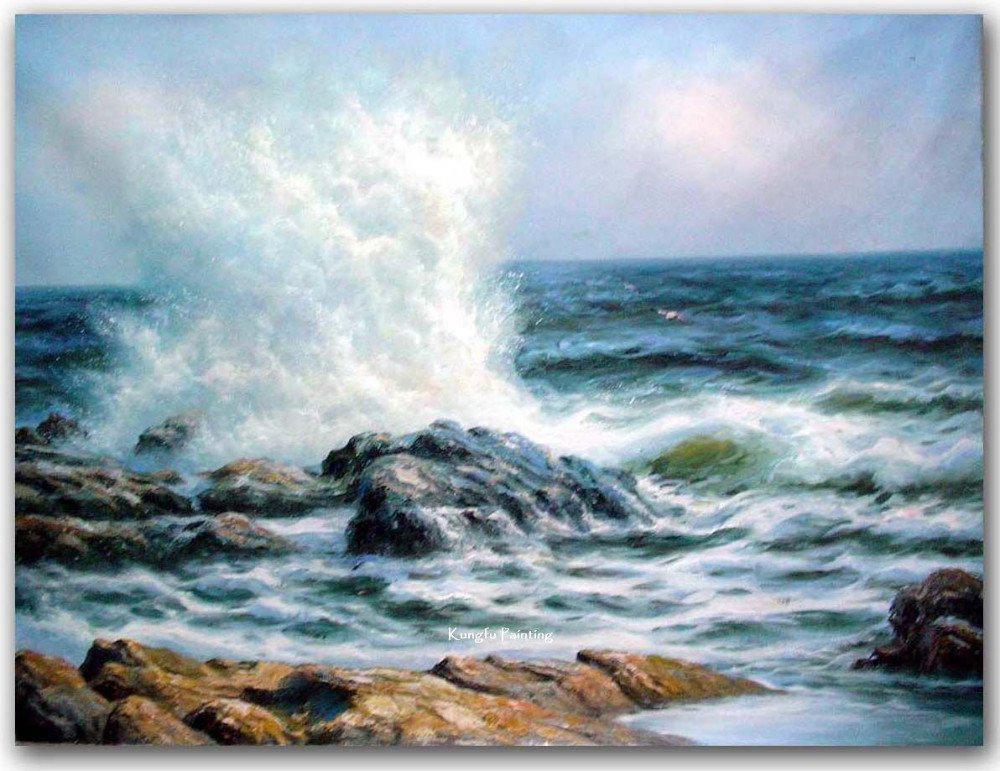 Hand Painted High Quality Canvas Ocean Waves Oil Painting Wall