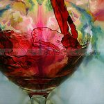 Hand Painted Red Wine Glass Cup Bottle Canvas Oil Painting Still Life