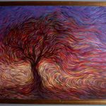 Hans Droog Work Sunset Tree Original Painting Oil Landscape