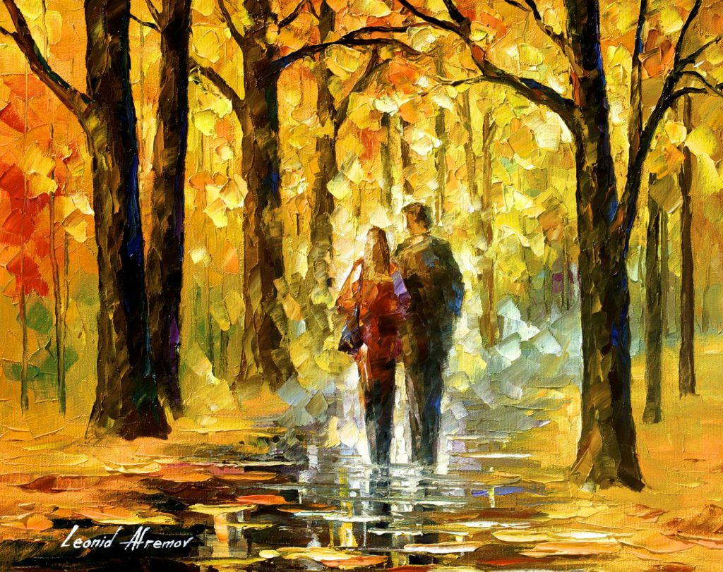 Happy Couple Palette Knife Oil Painting Canvas Leonid