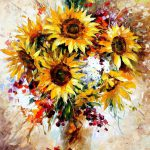 Happy Sunflowers Palette Knife Oil Painting Canvas Leonid