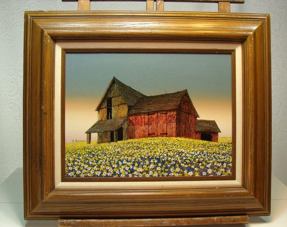 Hargrove Oil Canvas Old Barn Sea