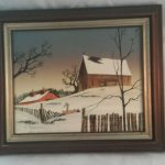 Hargrove Oil Painting Barn Farm Winter Scene Water Spout