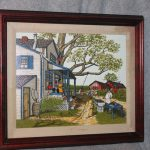 Hargrove Oil Painting Canvas Porch Outdoor Bbq Red Barn Framed