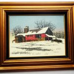 Hargrove Painting Farm Barn Winter Framed Work
