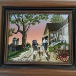 Hargrove Serigraph Oil Painting Grandpa Grandson Farm Buggy