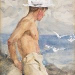 Henry Scott Tuke Study Young Man Looking Out Sea