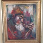 Herman Golo Painting Mid Century Abstact Oil Board Signed East Mcm Post