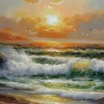 High Quality Lake Scenery Ocean Waves Sunrise Original Seascape Oil Painting