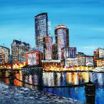 High Textured Knife Painting Boston Downtown Cityscape