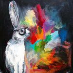 Hipster Rabbit Painting Print Long Eared Hare