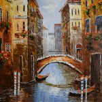 Home Decor Painting Oil Canvas Hand Painted Europe Italy Venice Landscape Classical Wall