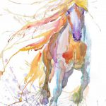 Horse Art Abstract Painting Equestrian Decor