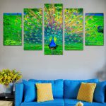 Hot Sale Wall Art Canvas Painting Peacock Open Green Screen Printed Piece