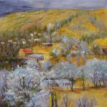 Impression Landscape Oil Painting Village Golden