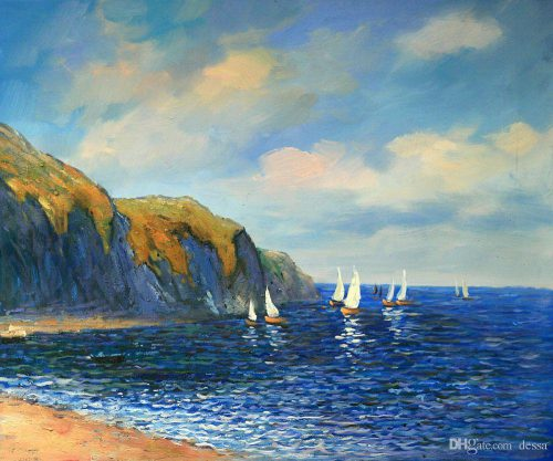 Impression Oil Painting Sale Claude Monet Cliffs Sailboats Pourville