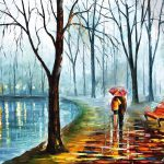 Inside Rain Palette Knife Fine Art Oil Painting Canvas Leonid
