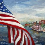 Items Similar Flag Savannah Georgia River Queen Original Oil Painting