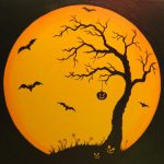Items Similar Original Halloween Canvas Moon Painting Bats