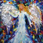 Items Similar Original Oil Painting Angel Palette Knife Whimsical Impressionism