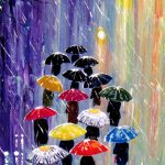 Items Similar Original Painting Umbrellas Acrylic Rain Blue Red