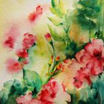 Items Similar Original Watercolor Painting Abstract Flowers Spring Summer Pink Green