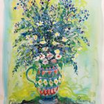 Jacques Pepin Untitled Vase Flowers Blue Yellow Sale