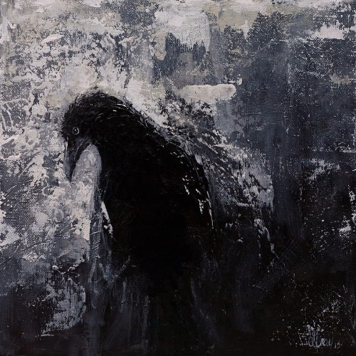 Jaded Original Raven Painting Black White Crow Art Gray