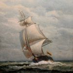 James Gale Tyler Oil Painting Ship Sail New Hampshire Antique Ruby
