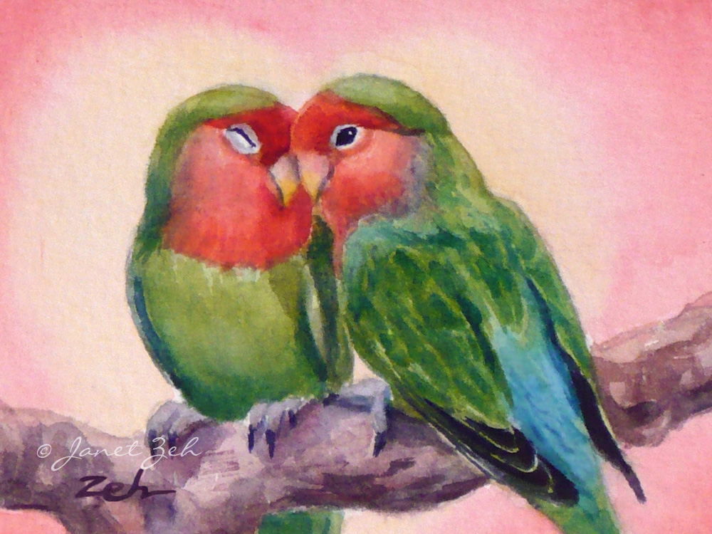 Janet Zeh Original Art Watercolor Oil Paintings Love Birds Fine Giclee Bird