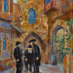 Jerusalem Hassidic Men Mea Shearim Oil Painting Orthodox Jewish Judaica Art
