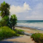 Jolla Palms Seascape Oil Painting Karen Winters Artist