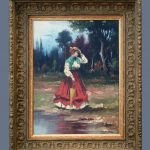Lady Garden Lovely Original Antique Oil Painting Canvas Signed