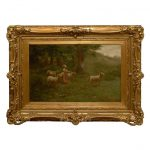 Large Antique Oil Painting Sheep Shepherdess Gilt Frame Sale