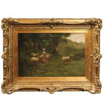 Large Antique Oil Painting Sheep Shepherdess Giltwood Frame Sale