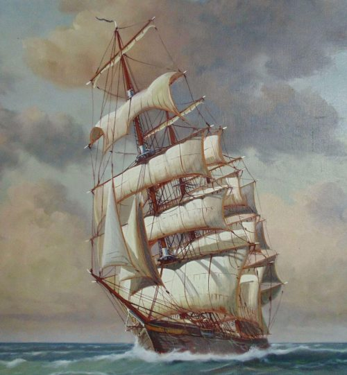 Large Charles Morgan Clipper Tall Sailing Ship Painting Oil Sold Ruby