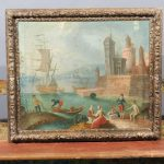 Large Framed Oil Canvas Painting Harbor Circa Sale