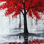 Large Modern Abstract Red Black Tree Hand Paint Oil Paintings Canvas Art Decor