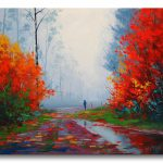 Large Rainy Fall Painting Autumn Landscape Impressionism Red Fine Art Gercken