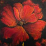 Large Red Painting Single Poppy Art