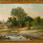 Late Century Landscape Oil Canvas Painting