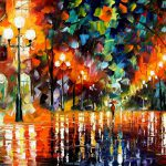 Leonid Afremov Paint Oil Impressionism Abstract Scape Outdoors Autumn
