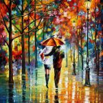 Leonid Afremov Under Red Umbrella Painting Best Paintings