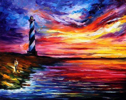 Lighthouse Leonid Afremov Leonidafremov