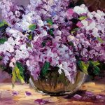 Lilac Still Life Purple Flower Oil Painting Small
